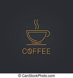 café, linéaire, tasse, noir, logo., icône