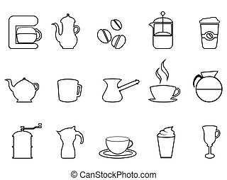 café, lineal, icono, conjunto