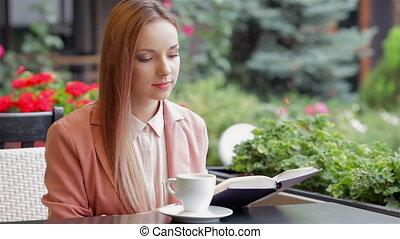 café, livre, boire, lecture