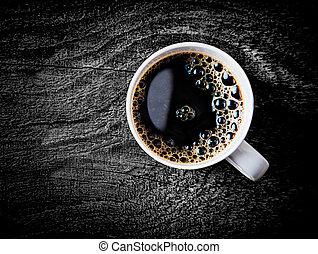 café, lleno, filtro, jarra, asado, fresco