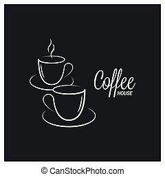 café, logotipo, experiência preta, copo, conceito