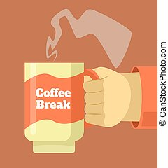 café, mão, quentes, ter, copo