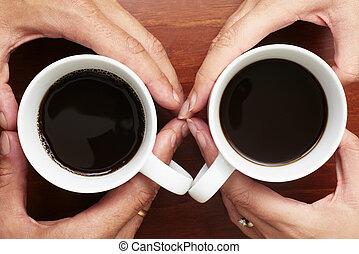 café, mãos