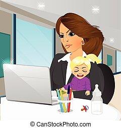café, mère, fonctionnement, concentré, ordinateur portable