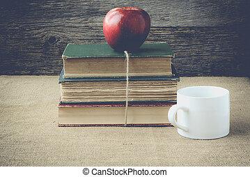 café, maçã, copo, instag, livros, retro, fundo
