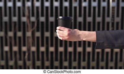 café, main, cadre, lactose-free, vegan, verre, femme, ...