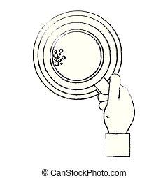 café, main, chaud, icône, tasse