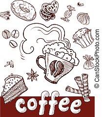 café, main, sweets., dessin