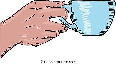 café, main, tasse