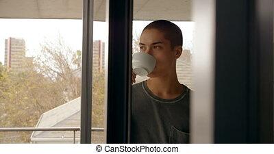 café, maison, avoir, homme, 4k