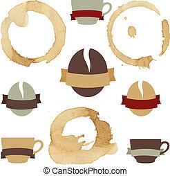 café, manchas, con, símbolos, conjunto