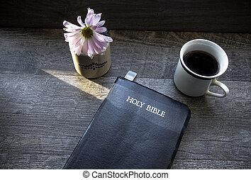 café, manhã, bíblia