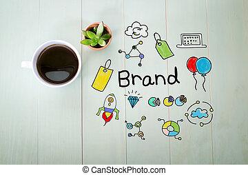 café, marque, tasse, concept