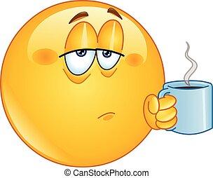 café, matin, emoticon