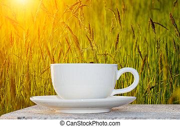 café matin, et, herbe, fleur