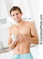 café, metade-despido, copo, cozinha, fresco, homem