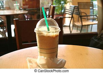 café, mezcla, hielo