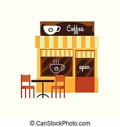 café, mignon, façade, magasin, restaurant., café