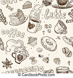 café, modèle, seamless