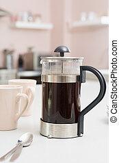 café, mostrador, olla, cocina