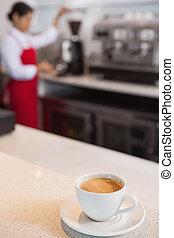 café, mostrador, taza