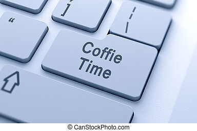café, mot, bouton, ordinateur clavier, temps