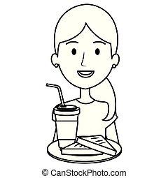 café, mujer, bebida, bread