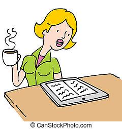 café, mujer, bebida, ebook, lectura