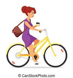 café, mujer, ella, mano., bicicleta que cabalga