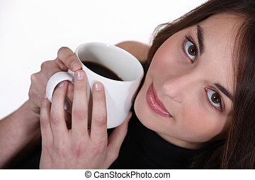 café, mujer, jarra, tenencia, cara