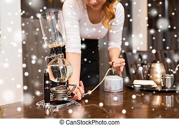 café, mujer, olla, arriba, sifón, cierre, fabricante