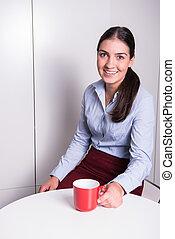 café, mulher, escritório, partir, professonal, tendo, esperto