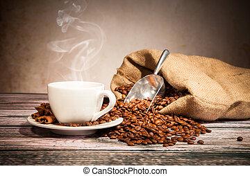 café, naturaleza muerta, con, de madera, amoladora