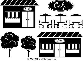 café, noir, icône
