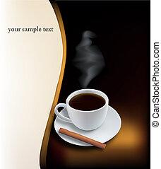 café noir, tasse, arrière-plan.