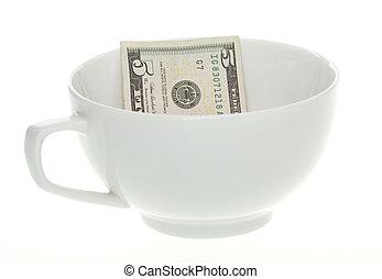 café, note, dollar, grande tasse, cinq, blanc
