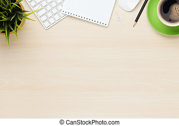 café, notepad, escritório, copo, computador, tabela