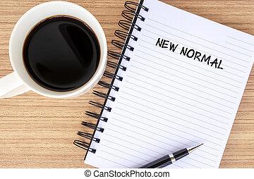 café, nouveau, tampon, texte, note, normal
