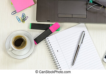 café, oficina, bloc, cuaderno, desordenado, tabla
