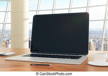 café, oficina, taza, computador portatil, moderno, ...