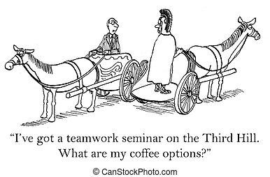 café, opciones, en, el, tercero, colina