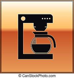 café, or, verre, pot, isolé, illustration, machine, arrière-plan., vecteur, noir, icône