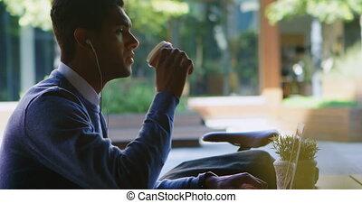 café, ordinateur portable, avoir, quoique, utilisation, homme, 4k, table