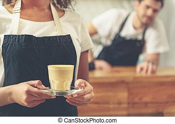 café, ouvrier, verre, savoureux, séduisant, tenue