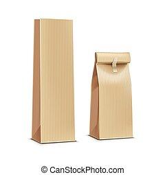 café, pacote, chá, isolado, ilustração, embalagem, saco, vetorial, papel, pacote