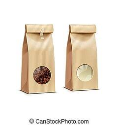 café, pacote, isolado, embalagem, saco, vetorial
