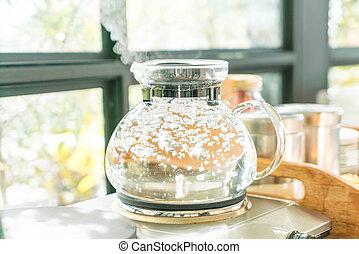 café, panela chá, água, ferver, fazer, ou
