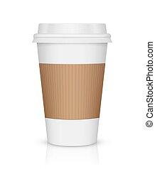 café, papel, aislado, taza blanca