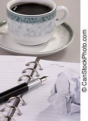 café, papier, chiffonné