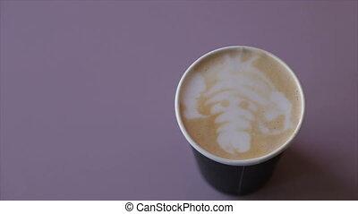 café, papier, crème, fouetté, tasse